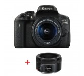 Огледално-рефлексен фотоапарат Canon EOS 750D + EF-S 18-55 IS STM + EF 50mm f/1.8 STM + DSLR ENTRY Accessory Kit (SD8GB/BAG/LC)